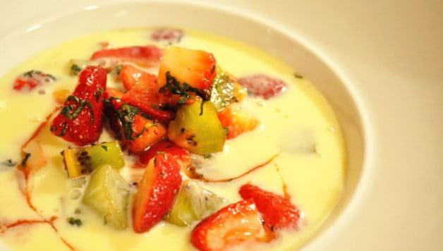 White Chocolate Strawberry Kiwi Soup - Food Gypsy