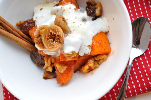 Candied Yams, dates & walnuts w/yogurt & brandied figs - Food Gypsy