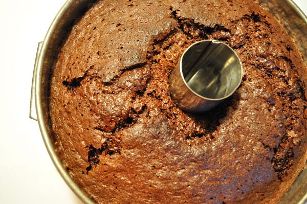 Chocolate Orange Chiffon Cake in pan - Food Gypsy
