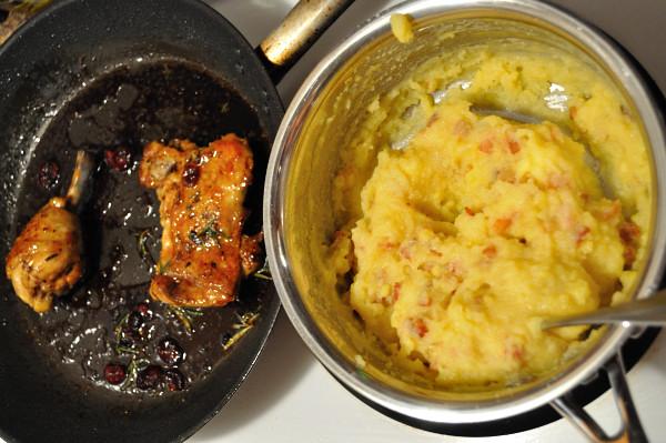 Apple glazed chicken & Bacon Polenta, ready to plate - Food Gypsy