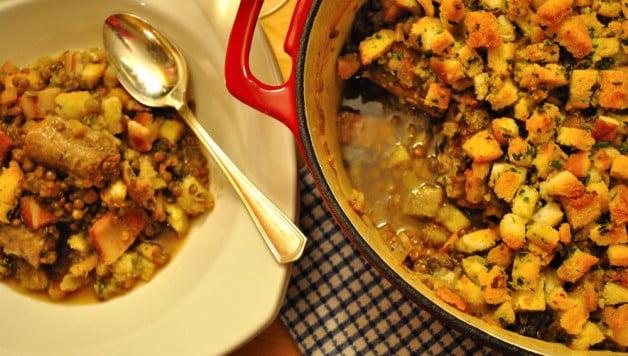 Lentil Sausage & Bacon Casserole - Food Gypsy