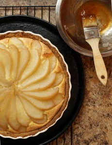 pear almond tart, before glaze- Food Gypsy