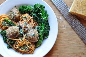 Spaghetti with Turkey Meatballs & Rapini - Food Gypsy