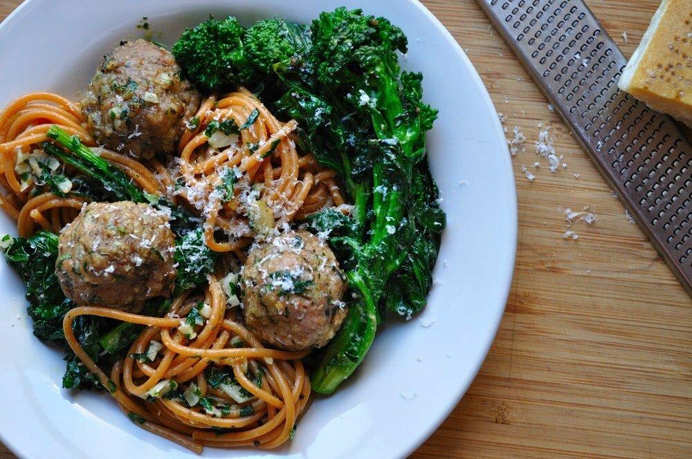 Spaghetti with Turkey Meatballs & Rapini 2 - Food Gypsy