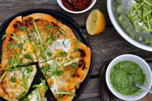 Breakfast Pizza, Eggs, Adobro Romesco & Asparagus - FG