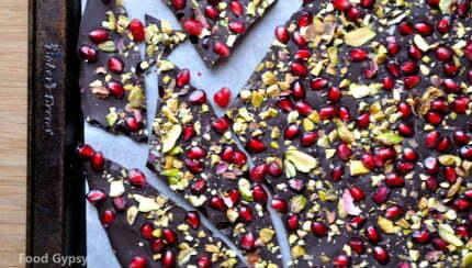 Chocolate Pomegranate Bark with Pistachios - FG