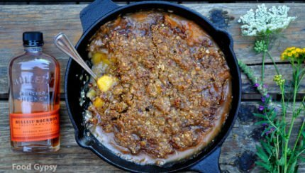 Peach Bourbon Praline Crisp - Food Gypsy